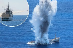 Sabre-rattling Greece sink abandoned warship close to Turkish holiday islands in the Med